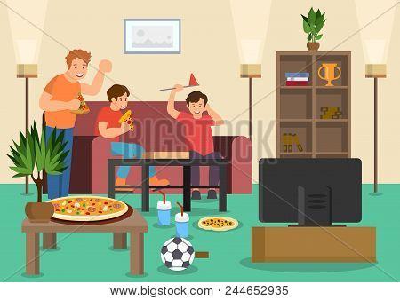 Cartoon Friends Fans Eat Pizza Watching Football Match On Tv. Vector Illustration. Clipart. Flat Sty
