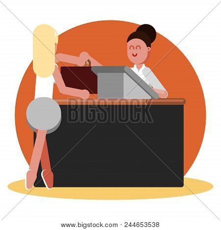 Woman Buys Clothing In Clothing Shop. Vector Illustration, Eps 10