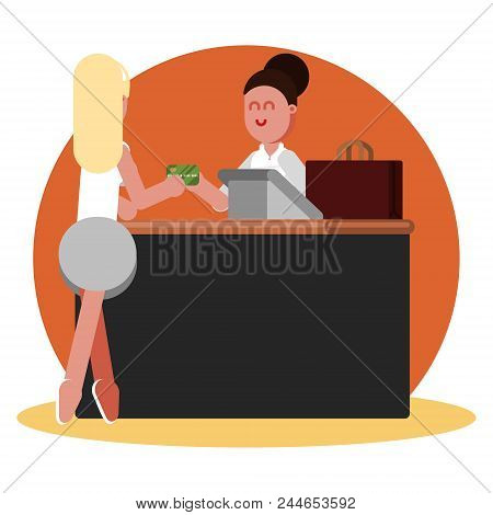 Woman Buys Clothing. Vector Color Illustration, Eps 10