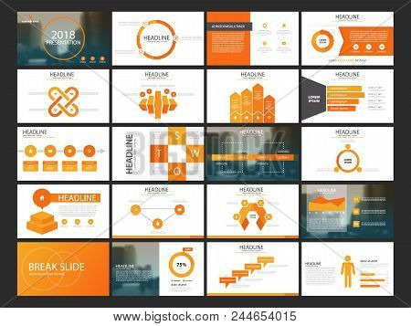 Orange Abstract Presentation Templates, Infographic Elements Template Flat Design Set For Annual Rep