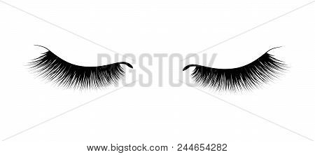 Eyelash extension. A beautiful make-up. Thick fuzzy cilia. Mascara for volume and length. False poster