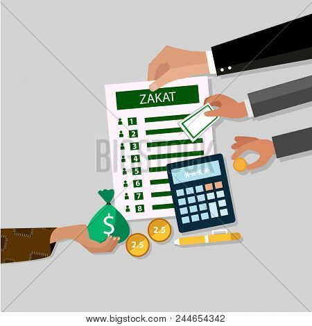 Business Hand Donation Zakat Concept Moslem Islam Count Counting Money