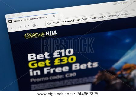 London, Uk - May 17th 2018: The Homepage Of The Official Website For William Hill Plc - The Bookmake