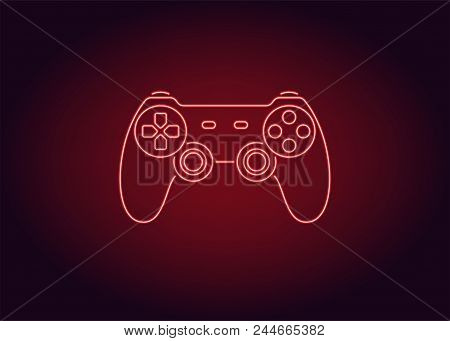Neon Icon Of Red Joystick. Vector Illustration Of Red Wireless Gamepad Consisting Of Neon Outlines.