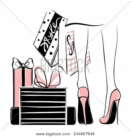 Vector Girl In High Heels Surrounded By Shopping Bags, Gift Boxes.fashion Illustration. Female Legs