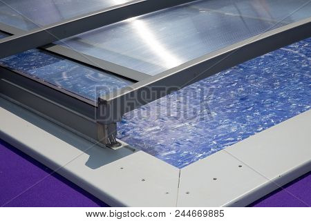 Close Up On Automatic Retractable Pool Shelter Enclosure System