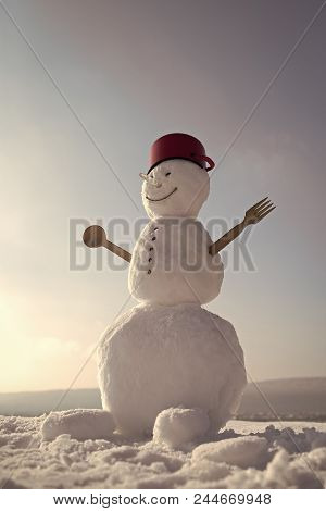 Snowman Cook. Winter Party And Cooking. New Year Snowman Chef From Snow With Pot. Snowman Cook With