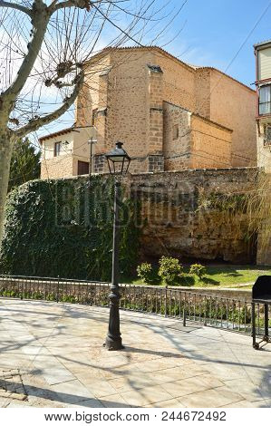Rear Facade Of The Parochial Church Dating In The 16th Century In Trillo Town. Architecture, Travel,
