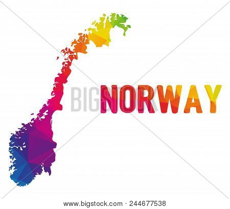 Low Polygonal Map Of Norge With Sign Norway (kingdom Of Norway - Kongeriket Norge), Both In Warm Col