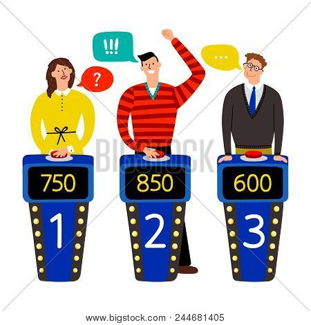 Quiz Show. Answering People On Quiz Game Vector Illustration, Gaming Show With Questions And Answers
