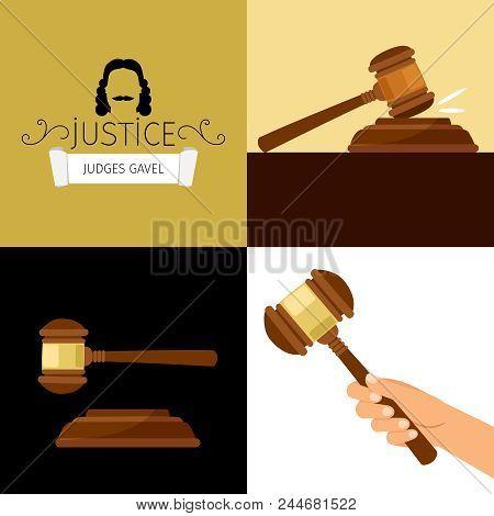 Judge Gavel. Legal Hammer Cartoon Vector Illustration, Adjudicator Gavel In Hand Isolated On White B