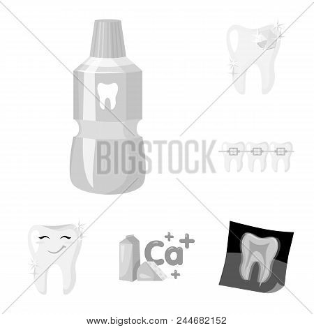 Dental Care Monochrome Icons In Set Collection For Design. Care Of Teeth Vector Symbol Stock  Illust