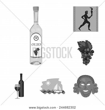 Country Greece Monochrome Icons In Set Collection For Design.greece And Landmark Vector Symbol Stock