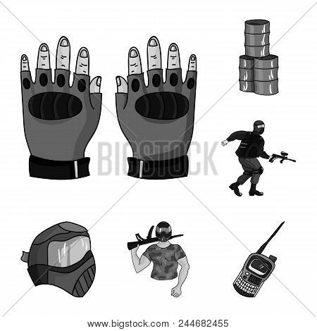 Paintball, Team Game Monochrome Icons In Set Collection For Design. Equipment And Outfit Vector Symb