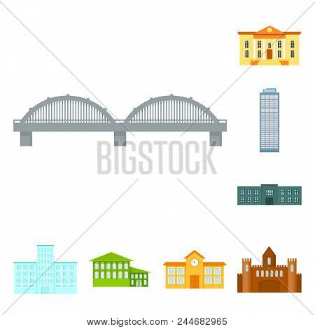 Building And Architecture Cartoon Icons In Set Collection For Design. Construction And Institution V
