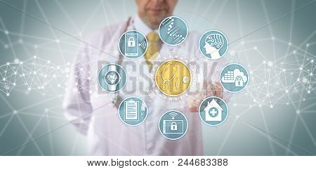 Unrecognizable Clinician Accessing A Medical Diagnostics App Connected To A Seamless Data Transfer.