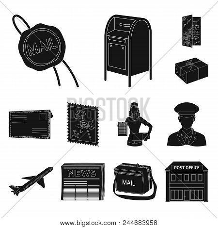 Mail And Postman Black Icons In Set Collection For Design. Mail And Equipment Vector Symbol Stock  I