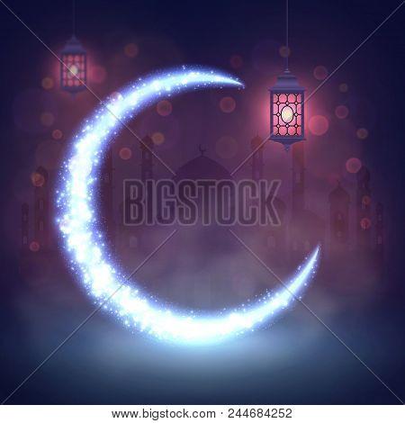 Ramadan Kareem Background With Blurred Lanterns. Eid Mubarak Greeting Islamic Card With Mosque And G