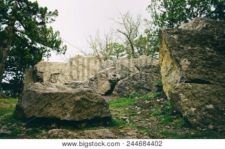Rocky Stones In Nature, Wild Rocky Place