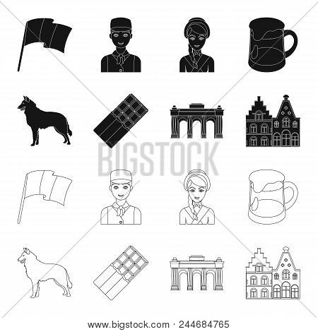 Chocolate, Cathedral And Other Symbols Of The Country.belgium Set Collection Icons In Black, Outline