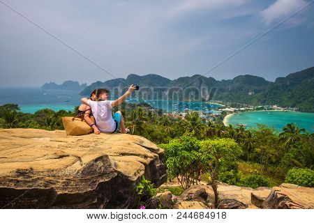 Koh Phi Phi, Thailand - April 4, 2018 : Mother And Son Make A Selfie Photograph With A Cell Phone Ov