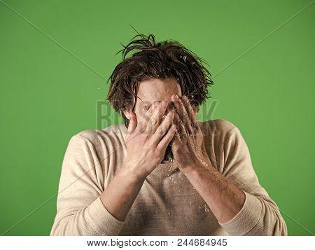 Morning Of The Man. Man Splash Water At Face On Green Background. Morning Washing, Wake Up, Everyday