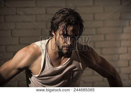Brutal Wet Man. Sleepy Man With Beard Undress. Insomnia, Energy, Single With Uncombed Hair. Barber A