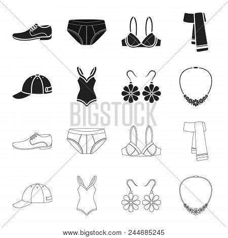 Cap, Earrings, Necklace, Swimsuit. Clothing Set Collection Icons In Black, Outline Style Vector Symb