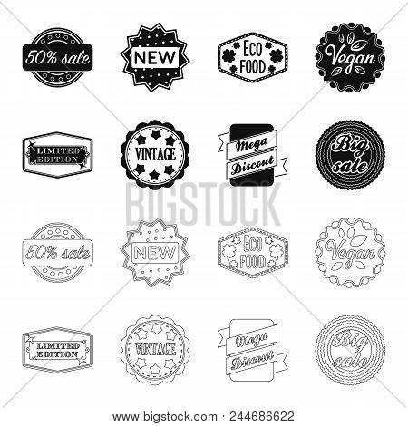Limited Edition, Vintage, Mega Discont, Dig Sale.label, Set Collection Icons In Black, Outline Style