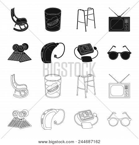 Lottery, Hearing Aid, Tonometer, Glasses.old Age Set Collection Icons In Black, Outline Style Vector