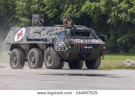 Feldkirchen / Germany - June 9, 2018: German Armoured Personnel Carrier Fuchs, Medical Version Drive