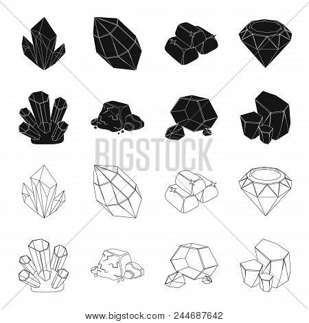 Crystals, Iron Ore. Precious Minerals And A Jeweler Set Collection Icons In Black, Outline Style Vec
