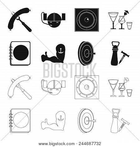 Menu, Armor With Tattoo, Darts, Corkscrew And Opener.pub Set Collection Icons In Black, Outline Styl