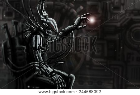 Alien Astronaut Sits In Suit On His Iron Throne. Science Fiction Original Character.