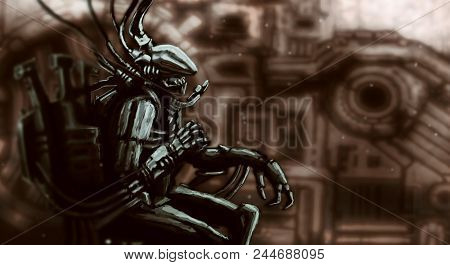 Alien Astronaut Sits In Suit On His Iron Chair. Scary Fantastic Character. Science Fiction Original