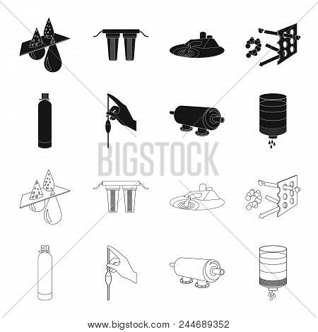 Purification, Water, Filter, Filtration .water Filtration System Set Collection Icons In Black, Outl