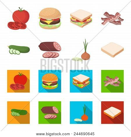 Burger And Ingredients Cartoon, Flat Icons In Set Collection For Design. Burger Cooking Vector Symbo