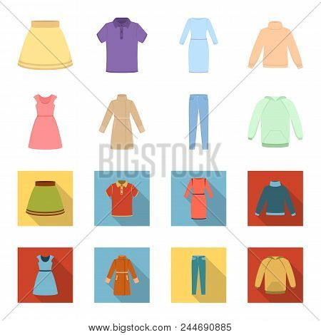 Dress With Short Sleeves, Trousers, Coats, Raglan.clothing Set Collection Icons In Cartoon, Flat Sty