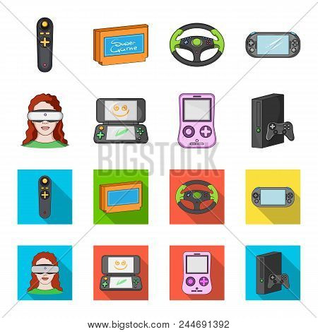 Game Console And Virtual Reality Cartoon, Flat Icons In Set Collection For Design.game Gadgets Vecto