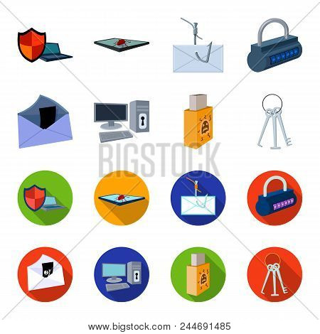 Virus, Monitor, Display, Screen .hackers And Hacking Set Collection Icons In Cartoon, Flat Style Vec