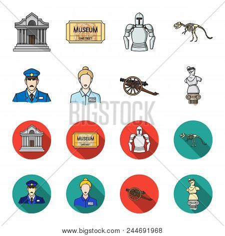 Guard, Guide, Statue, Gun. Museum Set Collection Icons In Cartoon, Flat Style Vector Symbol Stock Il