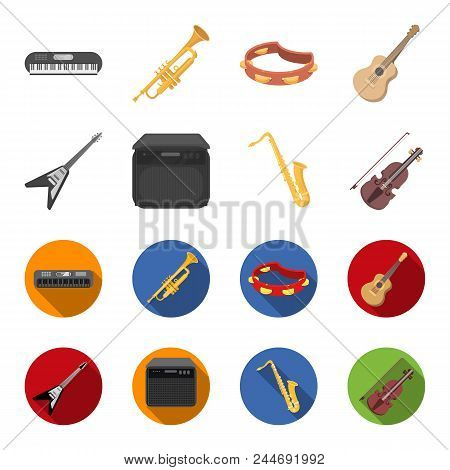 Electric Guitar, Loudspeaker, Saxophone, Violin.music Instruments Set Collection Icons In Cartoon, F