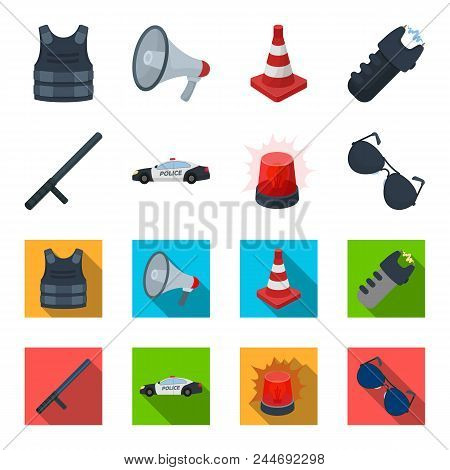 Police Baton, Auto, Flasher, Glasses.police Set Collection Icons In Cartoon, Flat Style Vector Symbo