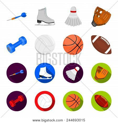 Blue Dumbbell, White Soccer Ball, Basketball, Rugby Ball. Sport Set Collection Icons In Cartoon, Fla