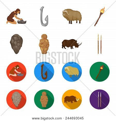 Primitive, Woman, Man, Cattle .stone Age Set Collection Icons In Cartoon, Flat Style Vector Symbol S