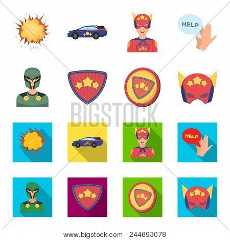Man, Mask, Cloak, And Other  Icon In Cartoon, Flat Style.costume, Superman, Superforce, Icons In Set