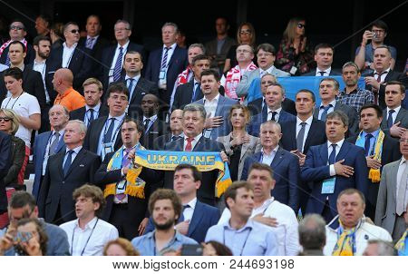Marseille, France - June 21, 2016: President Of Ukraine Petro Poroshenko (with Scarf) And Other Vip