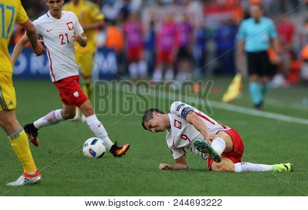 Marseille, France - June 21, 2016: Robert Lewandowski Of Poland Lies On The Grass During Uefa Euro 2