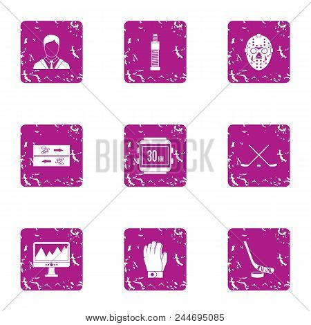 Sport Pulse Icons Set. Grunge Set Of 9 Sport Pulse Vector Icons For Web Isolated On White Background