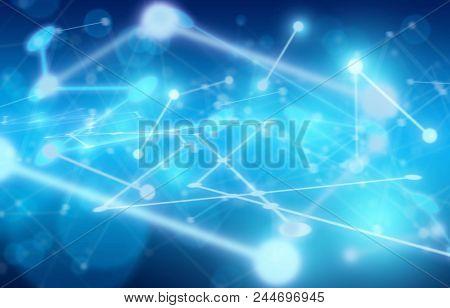 Plexus Network Background On Dark Blue Background